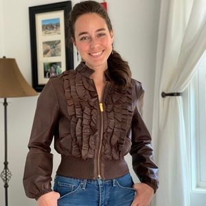 Bebe Brown Leather Bomber Jacket, Size S
